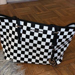 Black and white checkered Michael Kors Purse